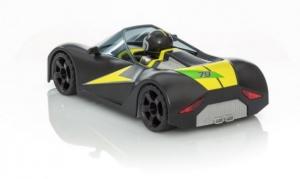 Playmobil-Figur im RC-Rennauto.